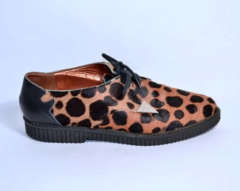 Vintage 80s Leopard Oxfords Creepers Rockabilly Lace Up Shoes/ Leather Cowhide Platform Oxfords Gianni Barbato SZ 8.5
