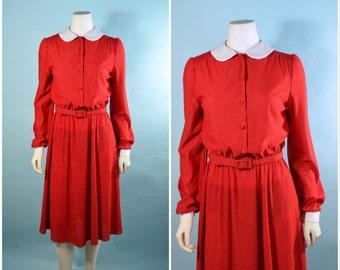 Vintage 70s Red Pinstripe Peter Pan Collar Shirt Waist Dress/Mod Preppy Secretary School Girl Kawaii Dress S