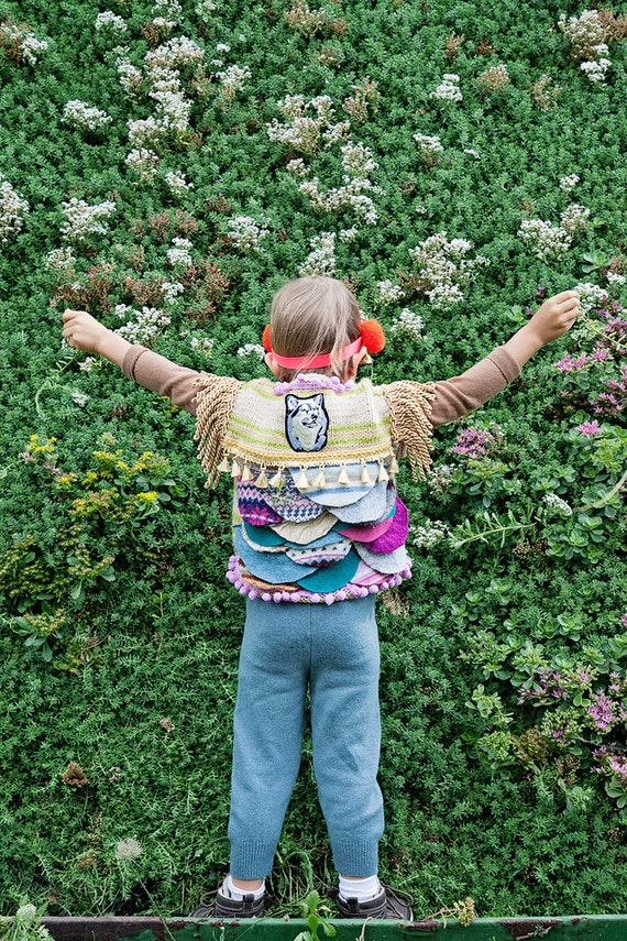 SHOW 4-5 Years Kids Childrens Wool Showpiece Jacket Gilet Waistcoat Vest Sweater Upcycled Wool Unisex A
