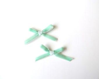 Mint Daphne Petite bow clips - Set of 2 - Pigtail bows - Mini Velvet hair clip set - dainty and Dapper -