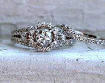 RESERVED - Vintage 14K White Gold Fitted Two Ring Diamond Wedding Set - 1.13ct.