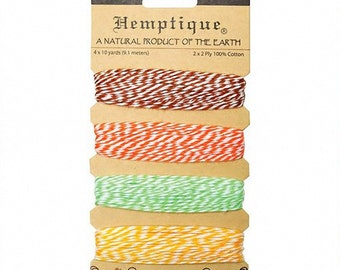 Pineapple Shades of Cotton Bakers Twineby Hemptique, Etc. 4 colors - 120 Feet -Orange, Brown, Yellow, Green Twine
