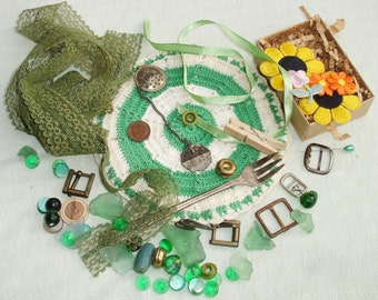 Found Object Mixed Media Altered Art Inspiration Kit - Green Things