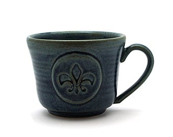 Fleur De Lis Mug, Blue Ceramic Coffee Mug, Fathers or Husband Pottery Wedding Anniversary Gift - Ready to Ship - by Miri Hardy Pottery