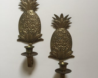 Set of 2 Vintage Brass Pineapple Candle holders Wall Sconces