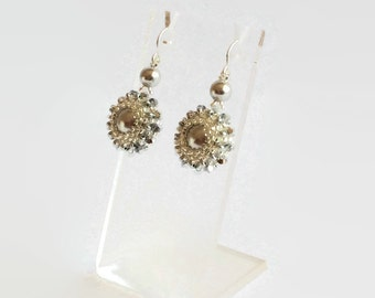 Silver swarovski pearl beaded earrings