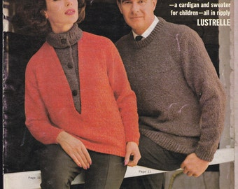 Vintage 1960s - Paton's Knitting Pattern No 724 Knits for all Ages  For the Family in Patons Lustrelle, Sweaters, Cardigans, Jackets, Jumper