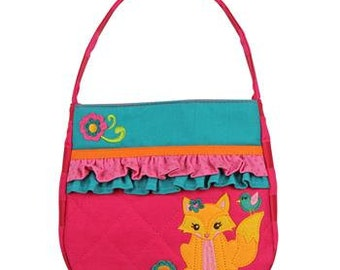 Personalized Stephen Joseph Quilted Ruffle Fox Purse with FREE Embroidery