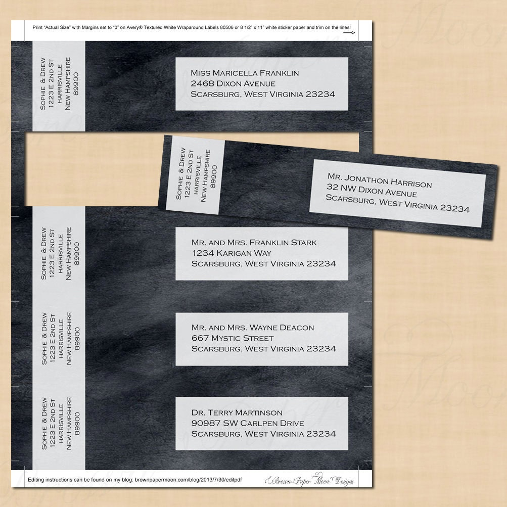 Chalkboard Wrap-Around Address Labels: Text-Editable in