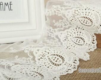 2 Yards Lace Trims 20cm Width,Embroidery,Vintage Style,White Color,Floral,European Royal Texture,Cotton(DL56)