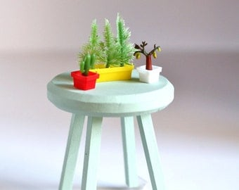 Vintage Blythe House Plants - mini cactus garden - set of 3 mini plastic plants- for your dollhouse collection