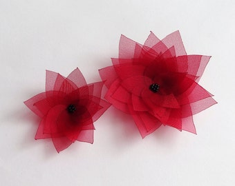Red Organza Flowers Embellishment