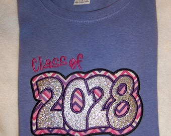 Keepsake CLASS of 2028 VIOLET with pinks and purples ---  Do You need a different YEAR??  Have up to 64 color shirts to choose from