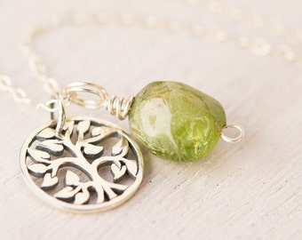 Tree of Life Necklace, peridot necklace, August birthstone, peridot jewelry, tree necklace