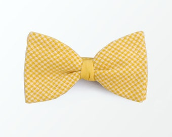 Yellow Bow Tie, Double Side Yellow Micro Gingham Bow Tie for Women, Men, Wedding and Gift /READY TO SHIP