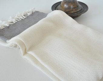 Turkish Towel Cotton Peshtemal Towel Pure Soft Natural Ivory Black striped