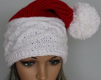 Skull Caps Beanies. Cable knit hat, slouchy beanie for women and men. Santa hat ideal for Christmas. Hand made oversized hat.