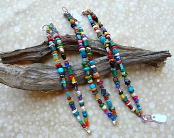 Colorful Multi Gemstone Two Strand Bracelets