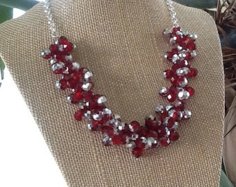Sparkly Red and Silver, Statement Necklace, Red Bridesmaid Necklace, Red Wedding Necklace, Red and Silver Bridal Necklace