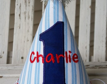Boys Birthday Hat - 1st Birthday Hat - Red White and Blue - Boys Nautical Theme Party Hat - Personalized