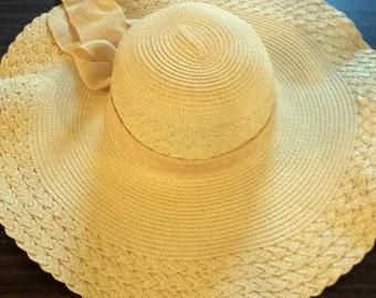 Natural Fancy Floppy Beach Hat With Your Monogram Included Free Shipping