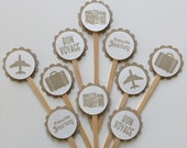 Destination Wedding Mini Cupcake Toppers/Party Picks - set of 24 - Bon Voyage, Airplane, Suitcase, Journey, Camera