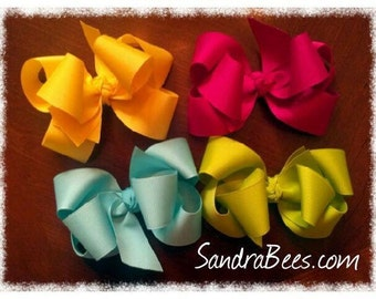 """Large TRIPLE Loop Bow Choose your ribbon boutique Hair Bows 5"""""""