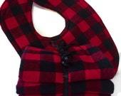 Buffalo plaid gift set- baby boy gift set- flannel burp cloth set- lumberjack baby- plaid bib- lumberjack birthday party- baby boy gift set