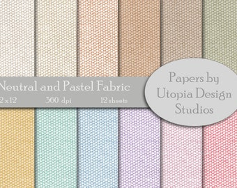 Digital Paper Pack - Neutral and Pastel Fabric