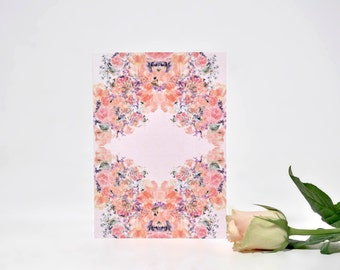 Hand Painted Floral Greetings Card. Watercolour Rose Pattern. Female. Blank Card. Feminine. Wedding Card. Birthday Card. Unique. Mothers Day