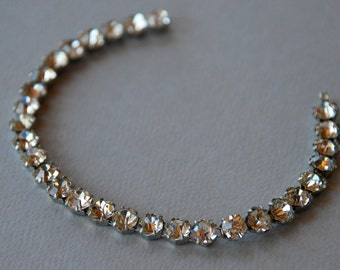 Vintage Clear Rhinestone Bracelet Single Row Round Stones Silver Tone Wedding Bridal Prom Jewelry Pinup 1950's // Vintage Costume Jewelry
