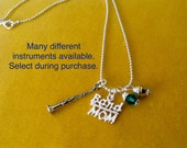 Special dashekky1 extra charm Band Mom Necklace Custom jewelry, Instruments, Flute, Trumpet, Trombone, French Horn, Clarinet,