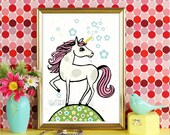 unicorn, children wall art ,girls room picture,art print, kids art, childrens decor, wall art, illustration, kids print