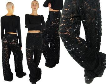 MASION MARTIN MARGIELA Black Floral Velvet Lace Trousers