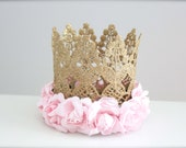Vintage Gold Lace Crown with Pink Roses - Perfect Newborn Crown - Birthday Crown or Princess Photo Prop