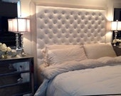 Diamond Tufted Faux Leather Headboard with Contrasting Border (King, Extra Tall)