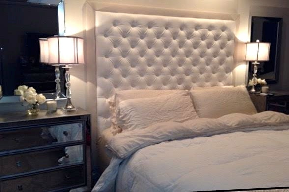 Diamond Tufted Faux Leather Headboard With Contrasting Border
