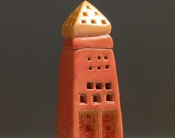 Tower 2616, Minaret, Clay Art, Patsy Thola, Patsy Chamberlain, Orange, Yellow, Architecture, Middle-Eastern, Sculpture, Ceramic, Windows