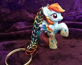 Custom Rainbow Dash My Little Pony Friendship is Magic Chainmaille Keychain