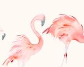 Original Watercolor Painting Three Flamingos