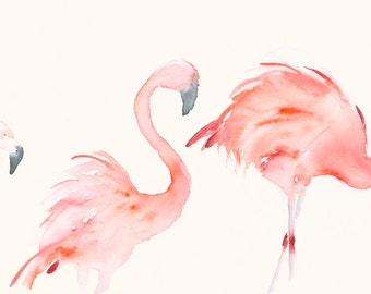 Original Watercolor Painting Three Flamingos