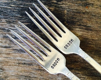 GROOM and GROOM - Set of Upcycled Vintage Silverware Forks hand stamped