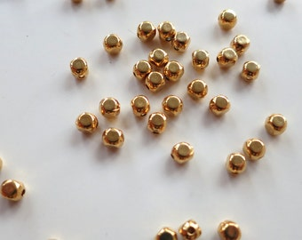 22K Gold Plated Rounded Cube Beads - 4x3mm - Lot of 60