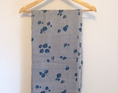 Vintage Fabric, Vintage Grey and Blue Floral fabric, vintage cotton, continuous yardage