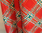 Vintage Fabric, Vintage Orange Fabric, Vintage Orange and Green Plaid, Vintage Decorator Fabric