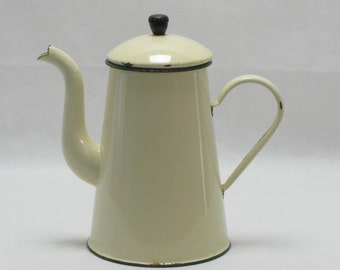 Enamel Coffee Pot, French Coffee Pot, Yellow Enamel Coffee Pot, French Enamel Coffee Pot, Stove Top Coffee Pot., Large Coffee Pot (4212)