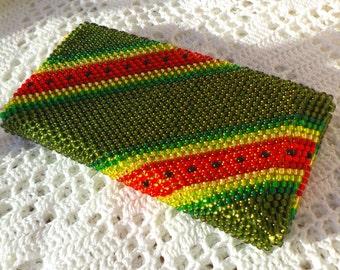 Beaded Crochet Smartphone Cell Mobile Phone Case Bag, Watermelon