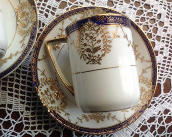 Demitasse Cobalt and Gold set of TWO Cups and Saucers Antique Nippon