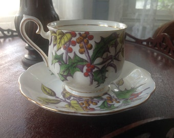 Vintage HOLLY Royal Albert Tea Cup and Saucer Bone China England Flower of the Month Series HOLLY Hand Painted
