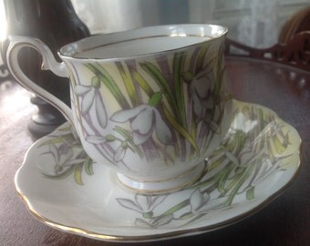 Vintage SNOWDROP Tea Cup and Saucer  Royal Albert Bone China England Flower of the Month Series SNOWDROP Hand Painted